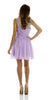 ON SPECIAL LIMITED STOCK - A Line Short Scoop Neck Meshed Yoke Lavender Cocktail Dress