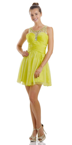 316cc3800e1 ON SPECIAL LIMITED STOCK - A Line Short Scoop Neck Meshed Yoke Lime Green  Cocktail Dress