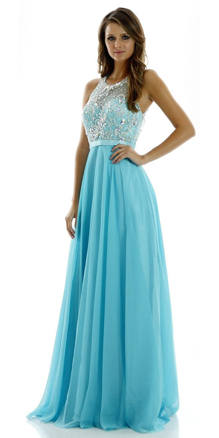 ON SPECIAL LIMITED STOCK - A-Line Stunning Aqua Evening Dress Illusion Neckline Sleeveless