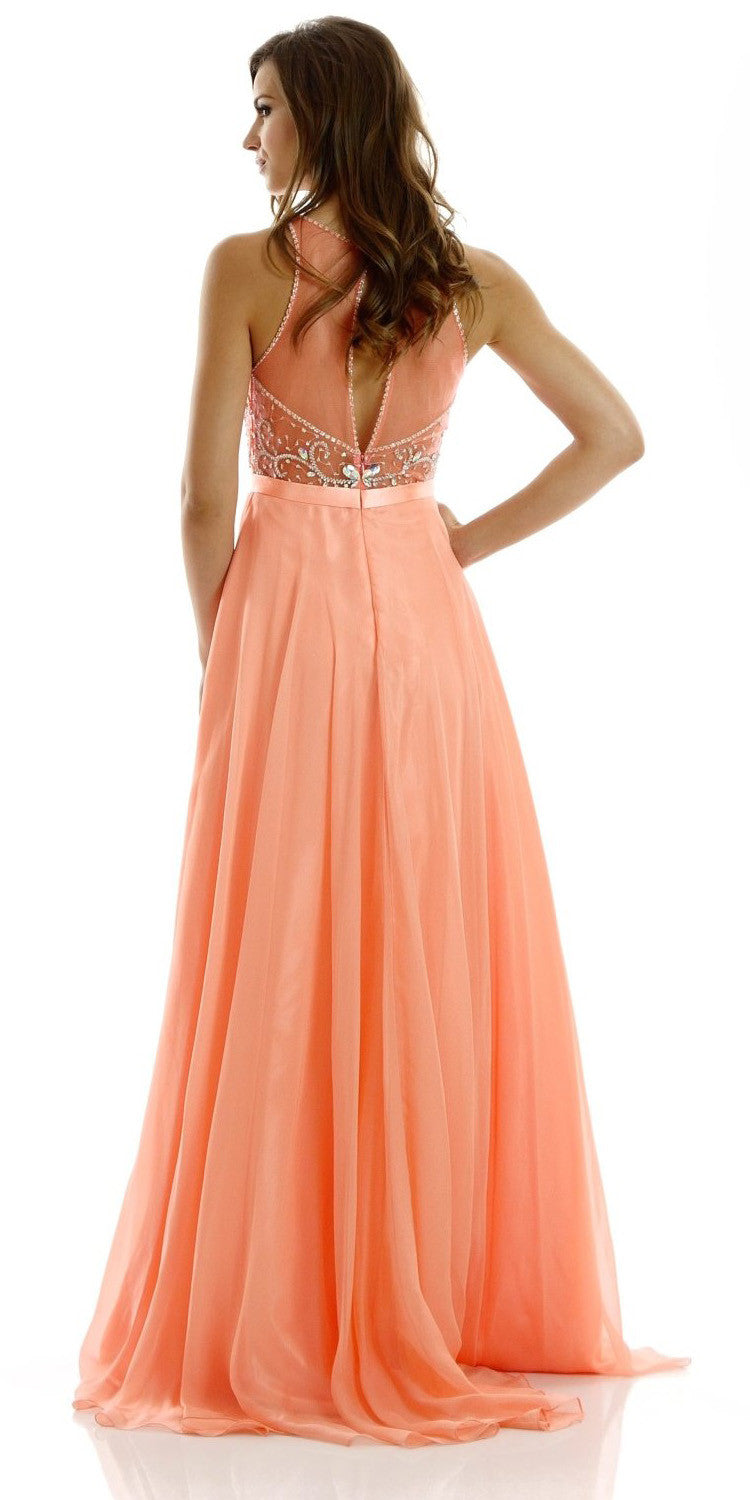 ON SPECIAL LIMITED STOCK - A-Line Stunning Coral Evening Dress Illusion Neckline Sleeveless