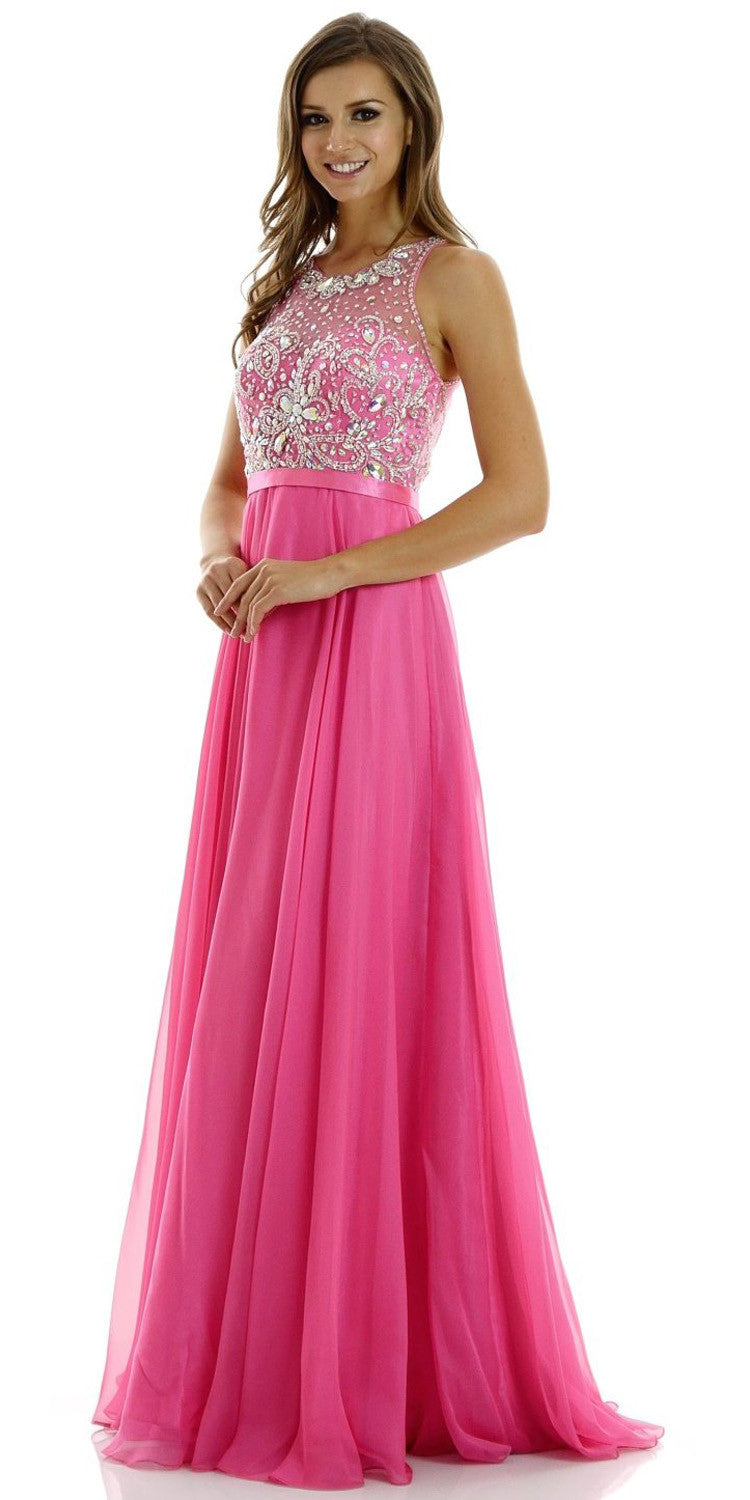 ON SPECIAL LIMITED STOCK - A-Line Stunning Fuchsia Evening Dress Illusion Neckline Sleeveless