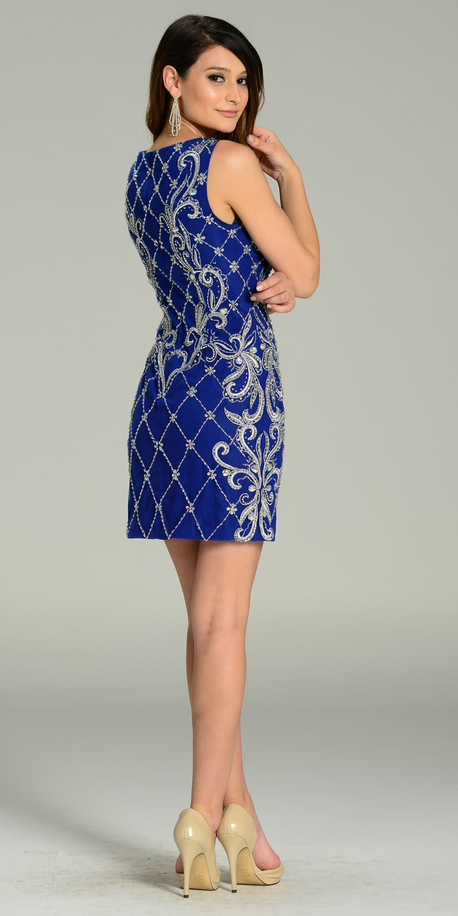 ON SPECIAL LIMITED STOCK - Above The Knee Royal Blue Dress Cocktail Ornate Beading Sleeveless