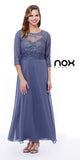 Ankle Length Mother of Bride Dress Steel Mid Sleeves Illusion