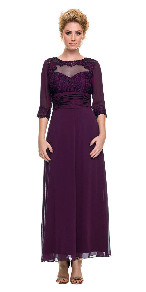 Ankle Length Mother Of Bride Dress Steel Mid Sleeves