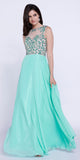 Mint Open Back Sleeveless long Prom Dress Jewel Top