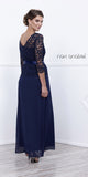 Formal Gown Navy Blue Long Mid Length Lace Sleeves Ribbon Bow