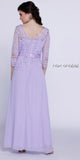 Formal Gown Lilac Long Mid Length Lace Sleeves Ribbon Bow