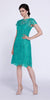 Short Vintage-Like Lace Dress Jade Cap Sleeves