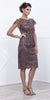 Short Vintage-Like Lace Dress Mocha Cap Sleeves