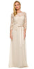 Formal Gown Champagne Long Mid Length Lace Sleeves Ribbon Bow