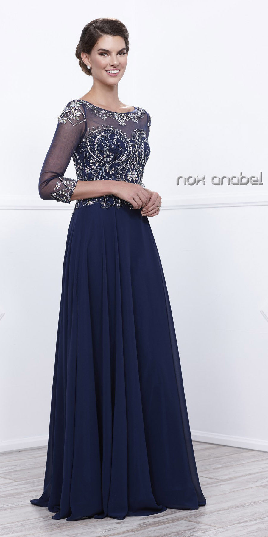 Plus Size Navy Blue Evening Gown Sheer Sleeves A Line ...