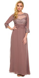 Ankle Length Mother of Bride Dress Mocha Mid Sleeves Illusion