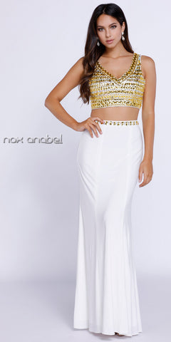 Long Two Piece Prom Gown Ivory Gold Jewel Bodice Jersey
