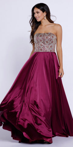 Strapless Burgundy Prom Gown Satin A Line Floor Length Beaded Top