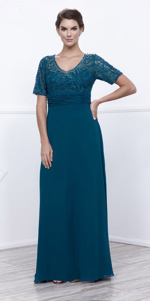 Mother of Groom V Neck Chiffon/Lace Dress Teal Short Sleeve