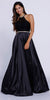 Long Black Prom Dress Beaded Sleeveless Halter