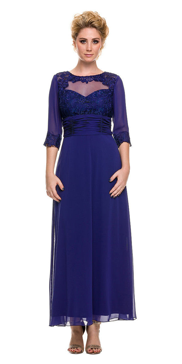 Ankle Length Mother of Bride Dress Royal Blue Mid Sleeves Illusion