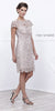 Short Knee Length Lace Dress Sand Short Sleeves Keyhole