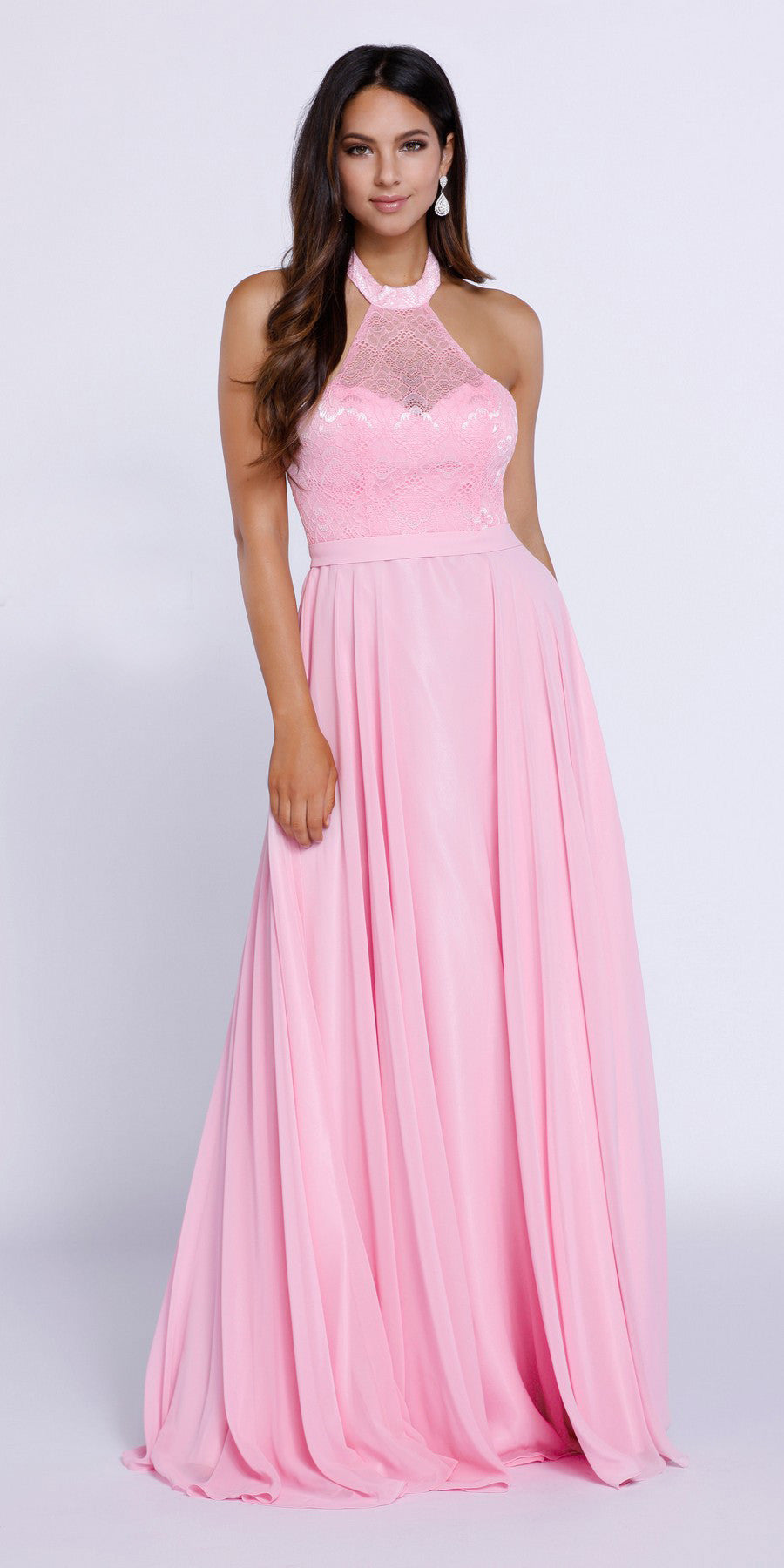 407ad0111273e Baby Pink High Neck Halter Top Prom Dress Chiffon Illusion Neck