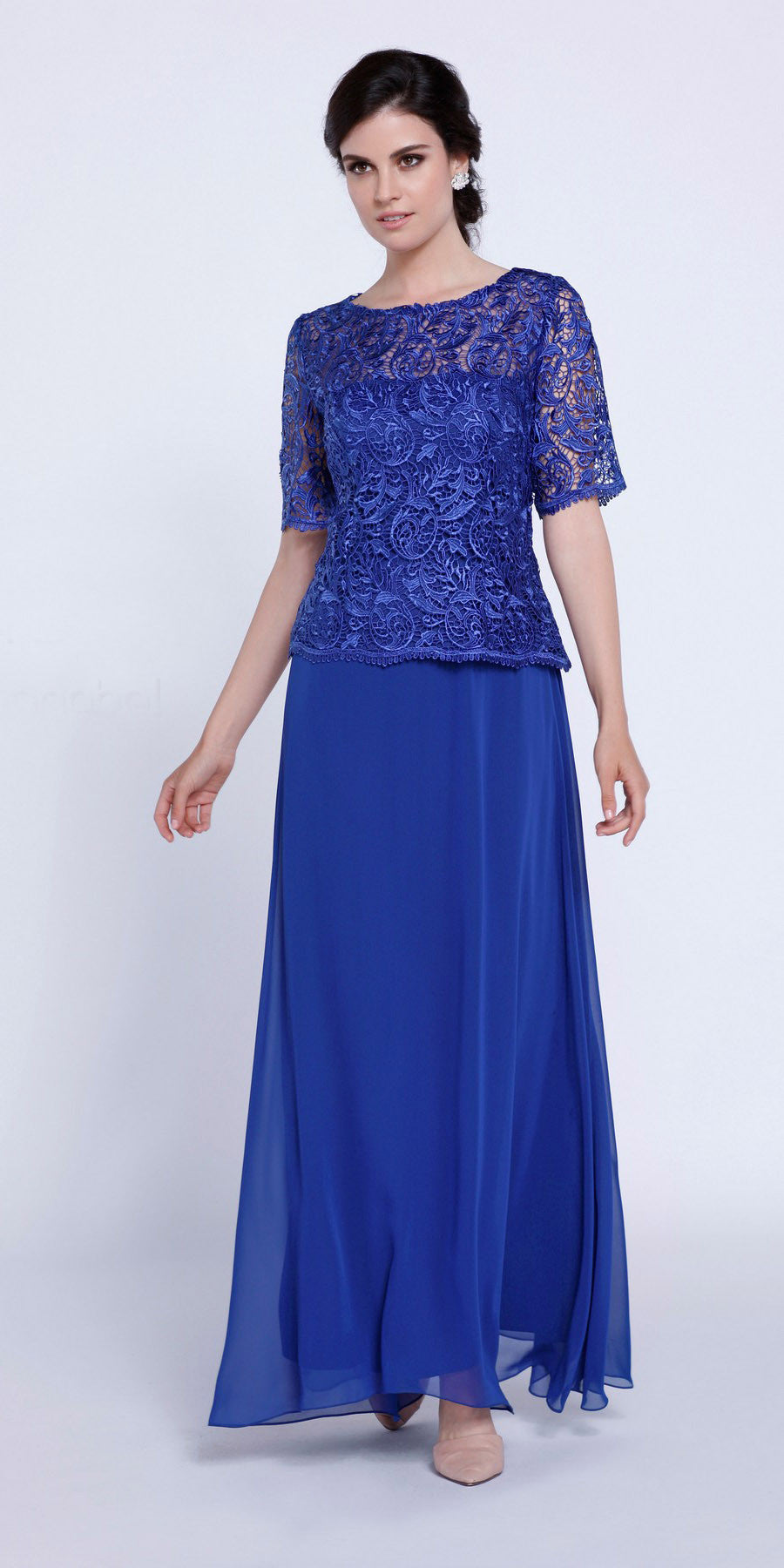 Mother of Groom Gown Sapphire Embroidery Bodice Chiffon Skirt