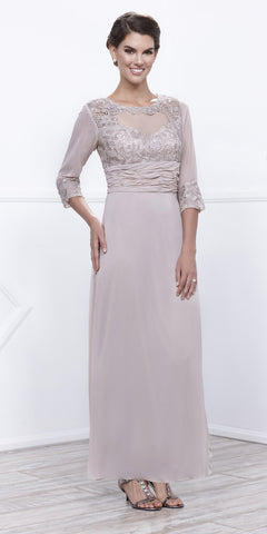 Ankle Length Mother of Bride Dress Sand Mid Sleeves Illusion