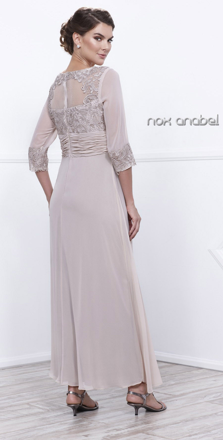 Ankle Length Mother of Bride Dress Sand Mid Sleeves Illusion Back