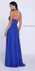 Royal Blue High Neck Halter Top Prom Dress Chiffon Illusion Neck