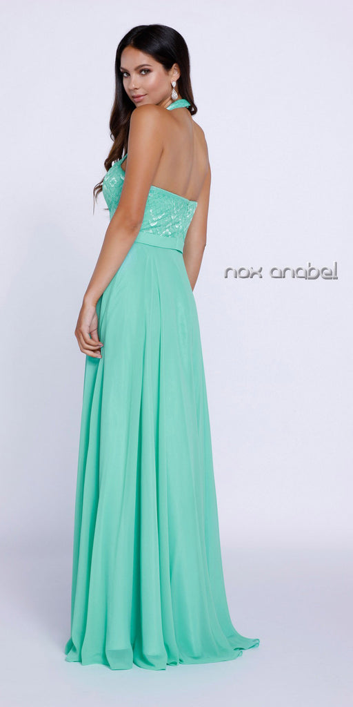 Mint Green High Neck Halter Top Prom Dress Chiffon Illusion Neck