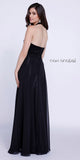 Black High Neck Halter Top Prom Dress Chiffon Illusion Neck