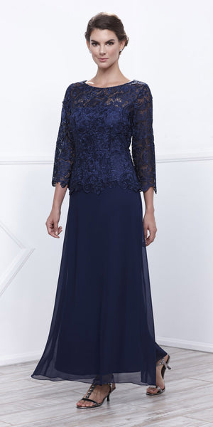 Navy Blue Mother of Bride Gown Plus Size Mid Lace Sleeves