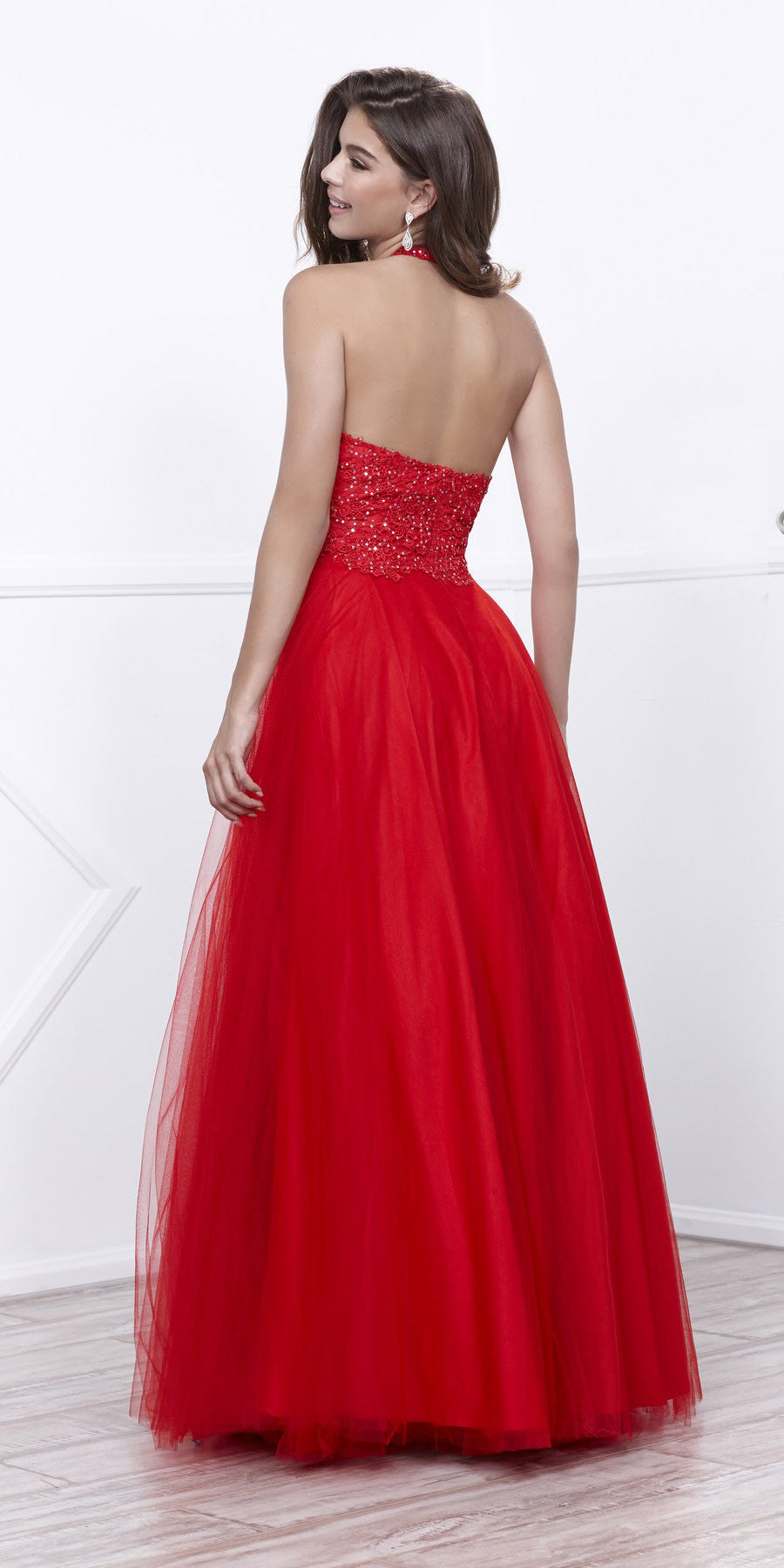 Halter Prom Gown Red Tulle Skirt Poofy A Line Lace Bodice