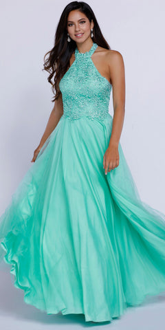 Halter Prom Gown Mint Green Tulle Skirt Poofy A Line Lace Bodice