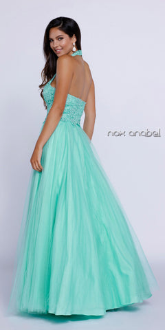 Halter Prom Gown Mint Tulle Skirt Poofy A Line Lace Bodice