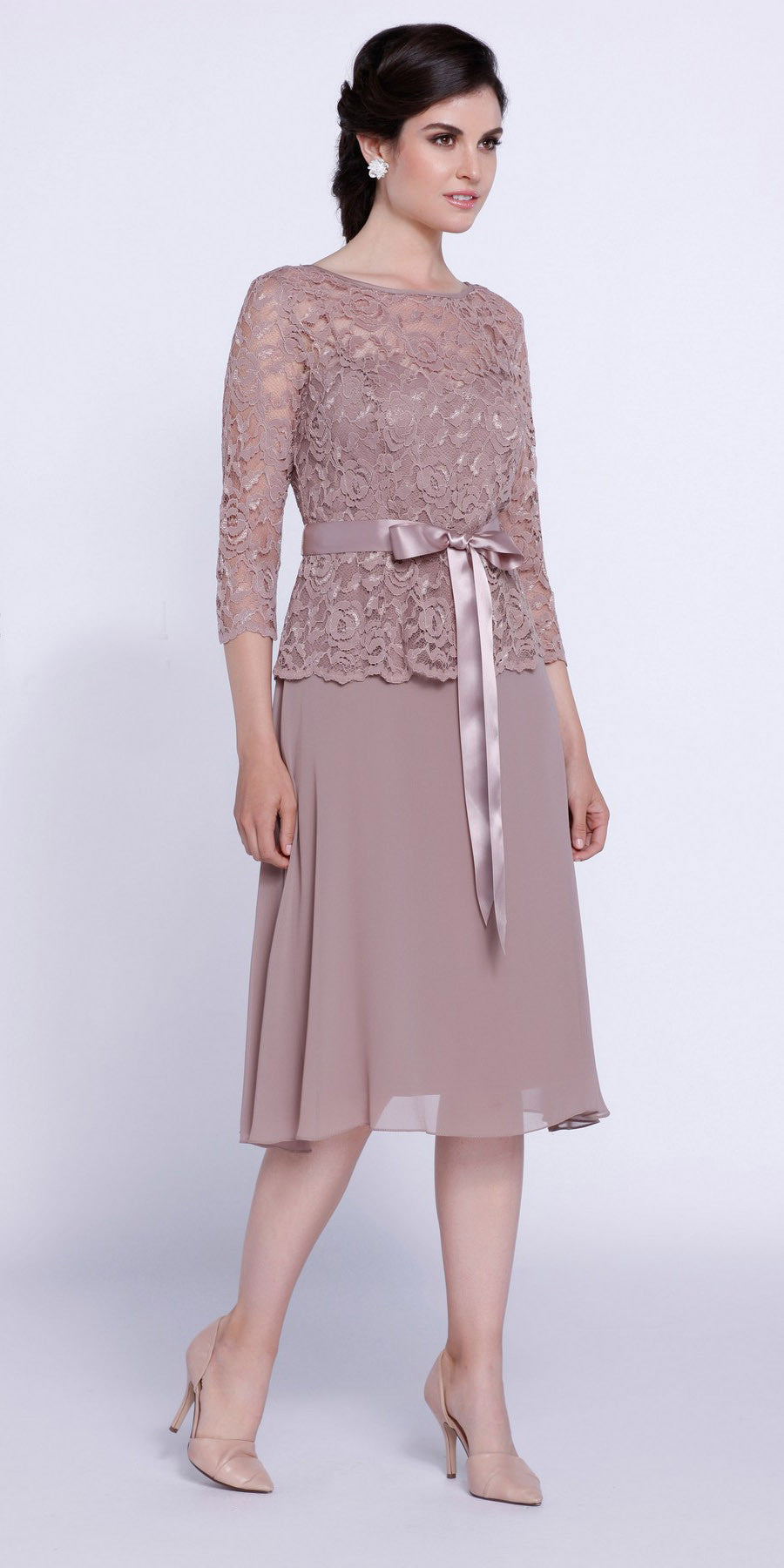 Knee length champagne bridesmaid dress mid lace sleeves for Lace mid length wedding dresses