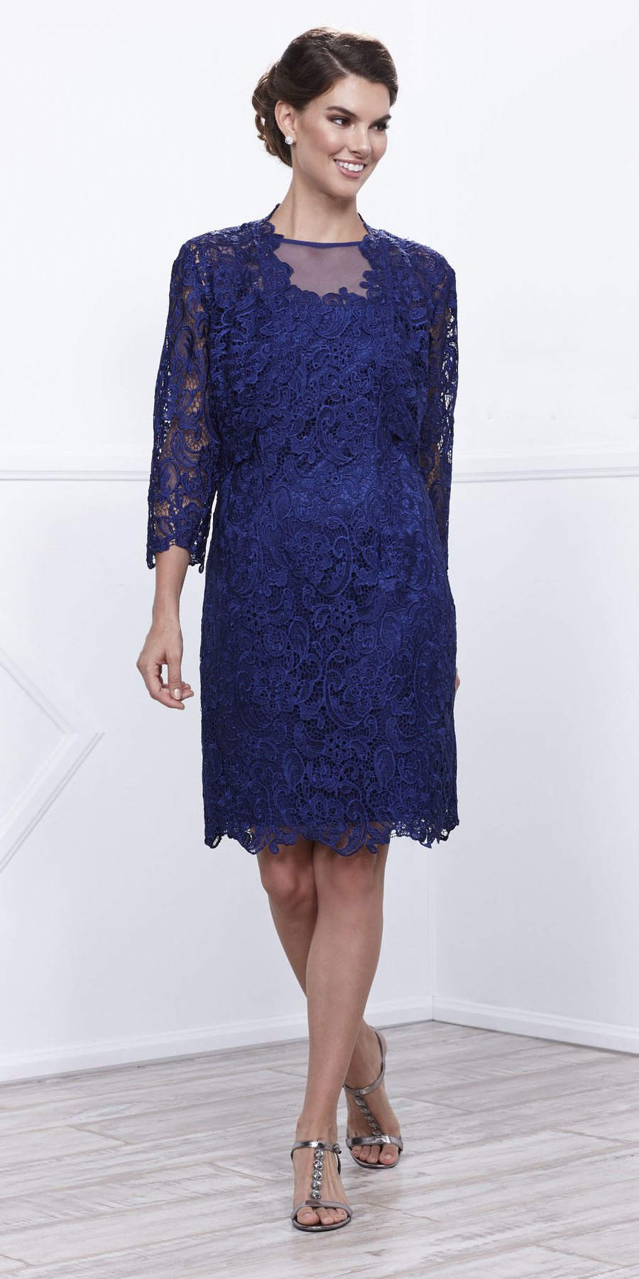 Knee Length Cruise Dress Lace Royal Blue Includes Lace Jacket