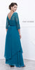 Mid Length Lace Sleeves Teal Dress Chiffon Skirt Long