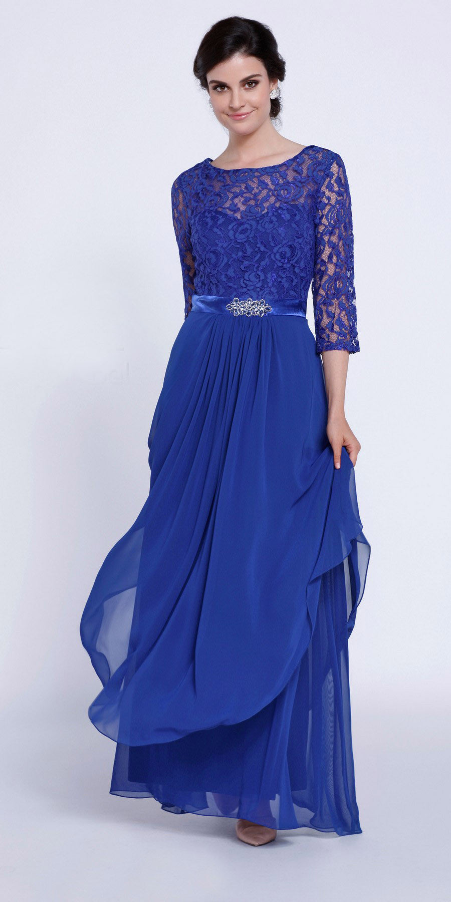 Mid Length Lace Sleeves Sapphire Dress Chiffon Skirt Long