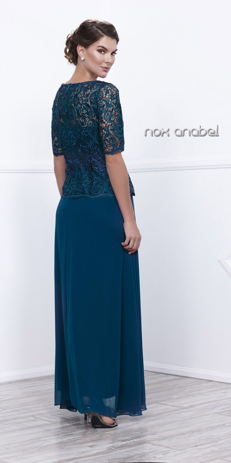 Mother of Groom Gown Teal Embroidery Bodice Chiffon Skirt