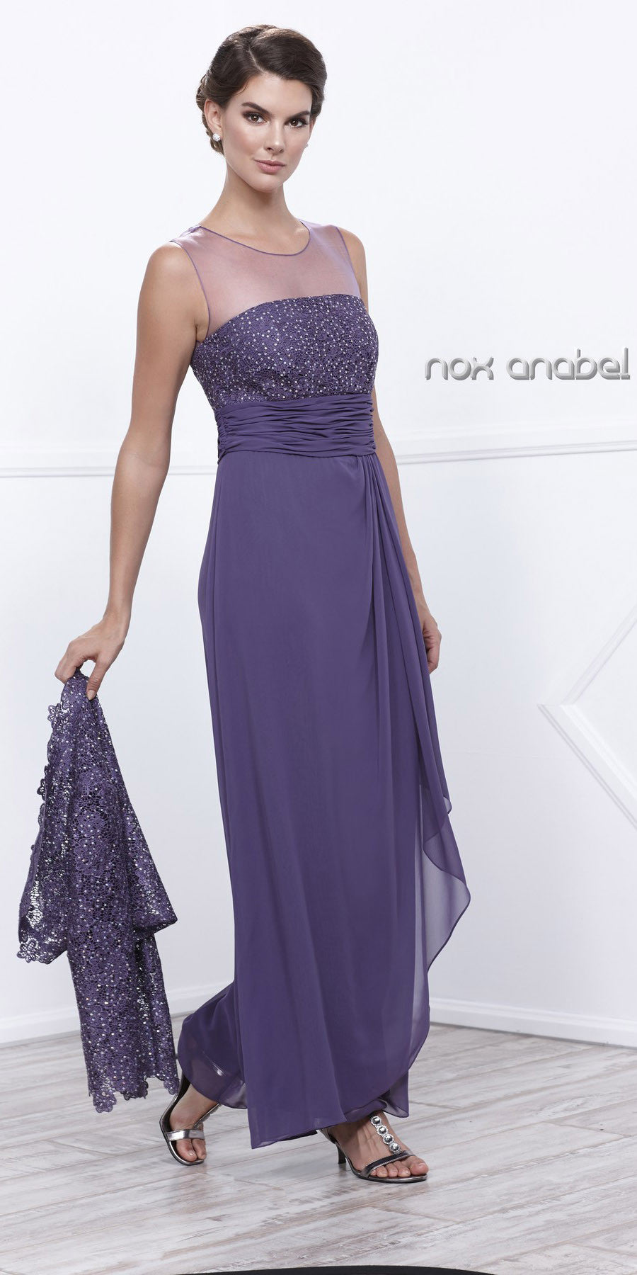 fd1f388f48a ... Plus Size Ankle Length Mother Bride Gown Violet With Lace Jacket ...