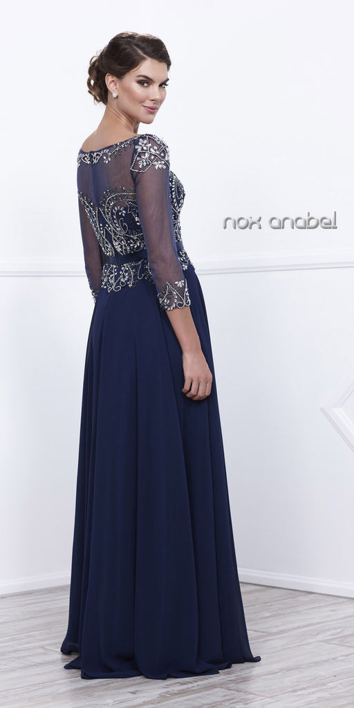 Plus Size Navy Blue Evening Gown Sheer Sleeves A Line