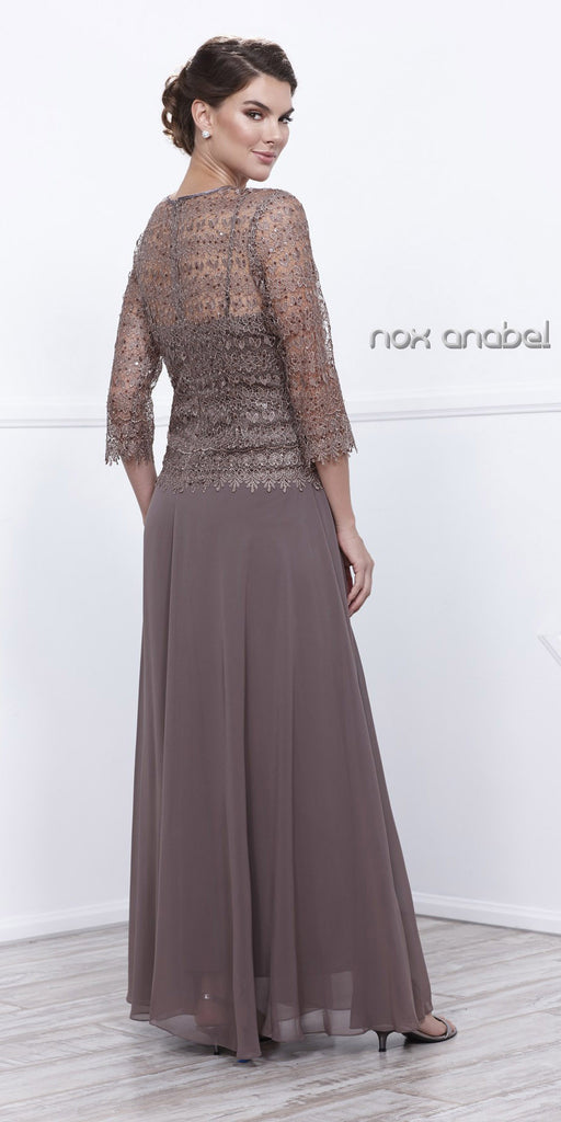 Plus Size Chiffon/Lace Mother Bride Dress Mocha