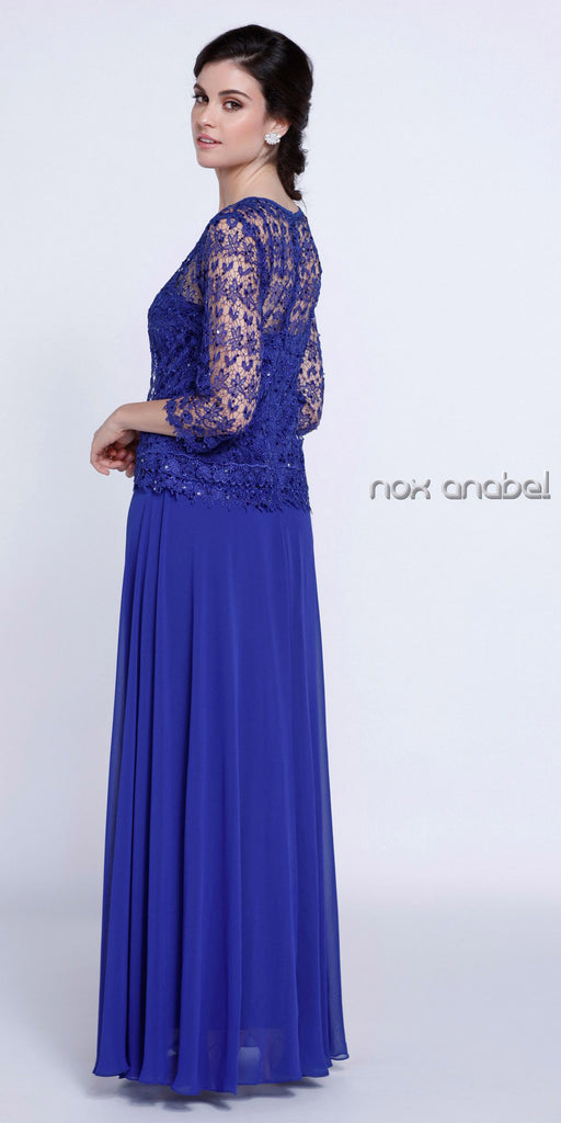 Plus Size Chiffon/Lace Mother Bride Dress Royal Blue