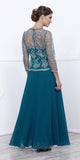 Plus Size Illusion Neck Formal Dress Teal/Silver Long Sleeve