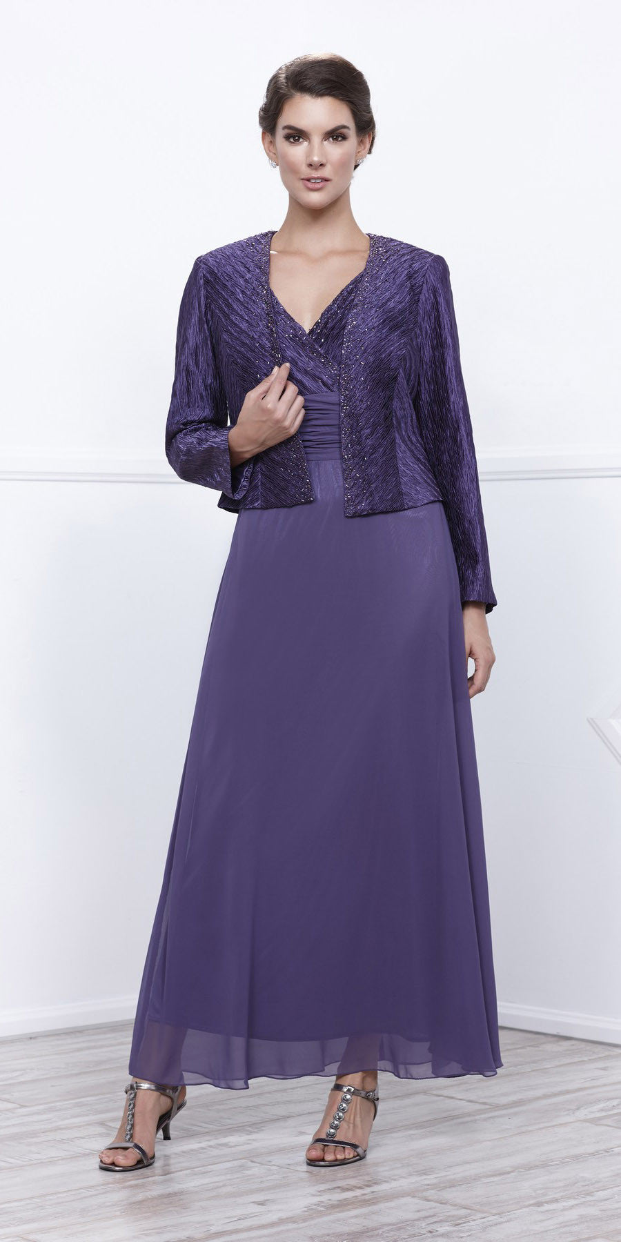 Plus Size Mother Groom Gown Violet Long Jacket Chiffon