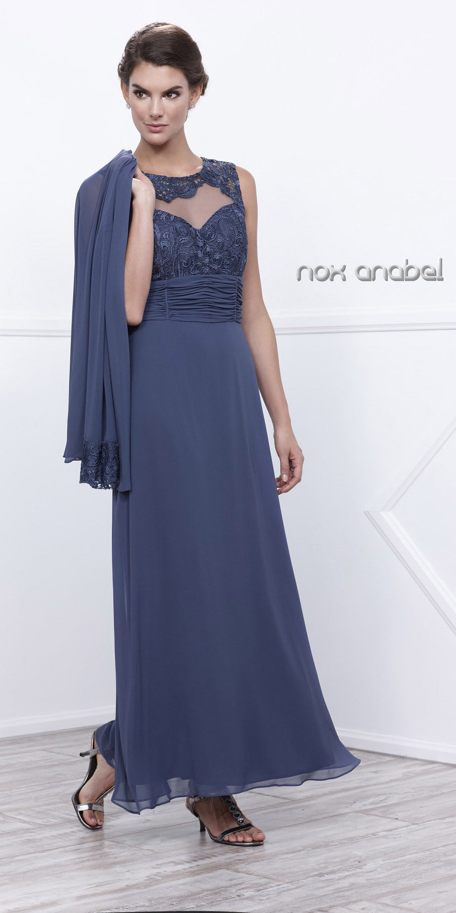 Plus Size Mother of Groom Gown Steel Chiffon/Lace A Line