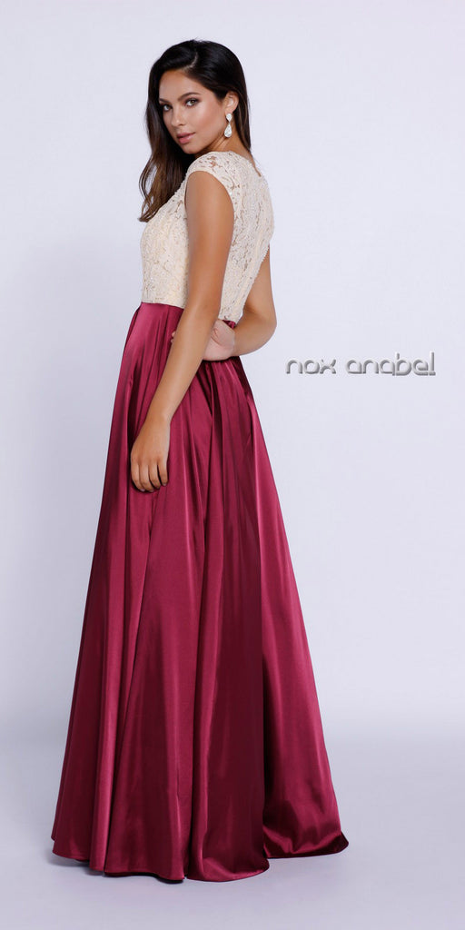 Satin/Lace Prom Gown Burgundy Gold Lace Top A Line Cap Sleeve