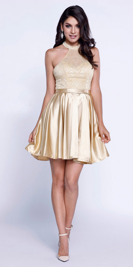 Short Lace Satin Halter Prom Dress Gold A Line Flare