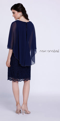 Short Plus Size Lace Cocktail Dress Navy Blue Shrug Overlay