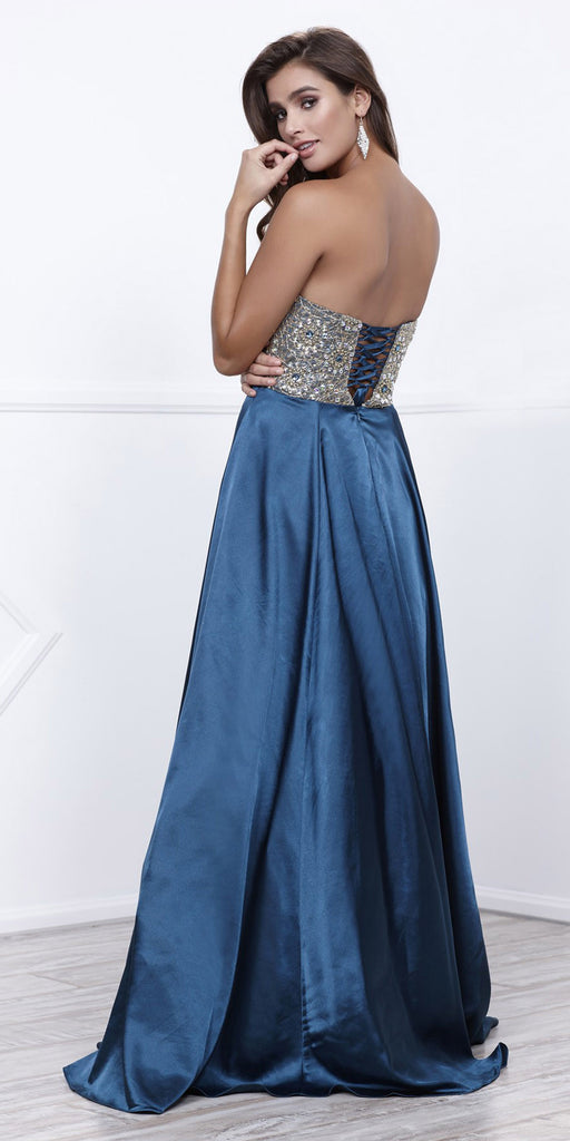 Strapless Teal Blue Prom Gown Satin A Line Floor Length Beaded Top