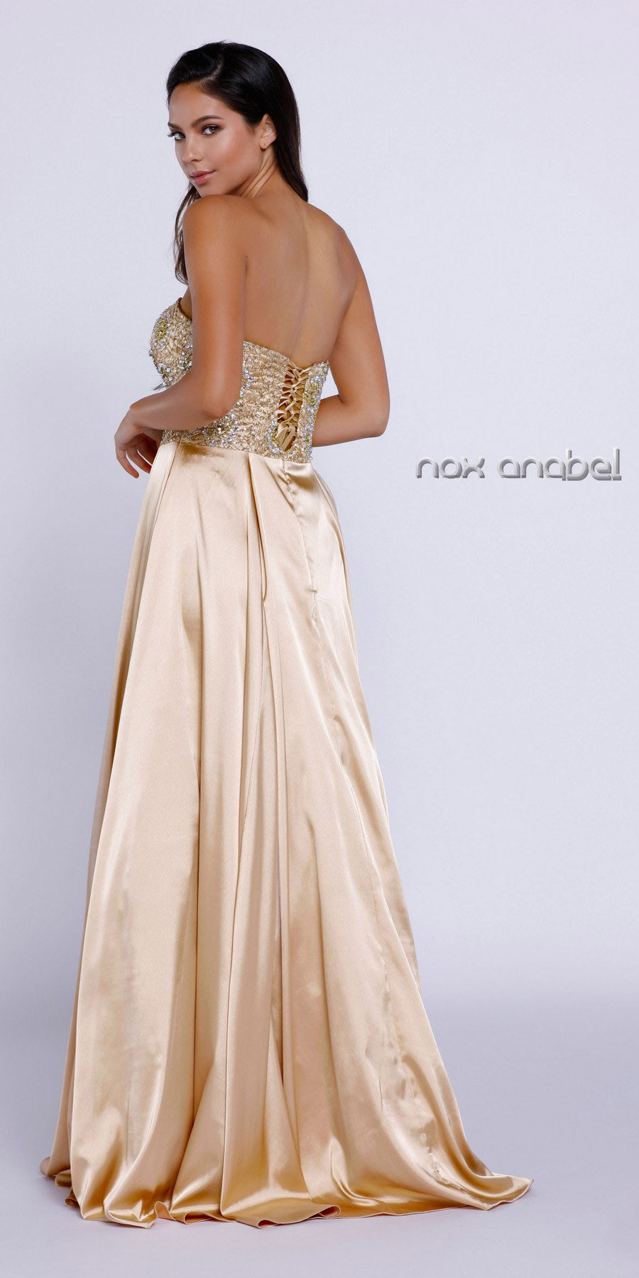 Strapless Gold Prom Gown Satin A Line Floor Length Beaded Top